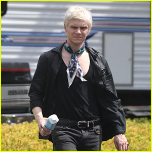 Evan Peters Films 'AHS' Season 8 with Blond Hair - See Photos!