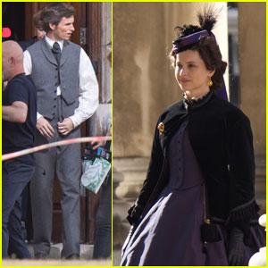 Felicity Jones & Eddie Redmayne Get Into Character on 'The Aeronauts' Set