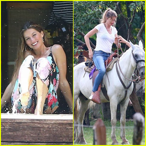 Gisele Bundchen Playfully Poses by the Pool & Goes Horseback Riding in Costa Rica!