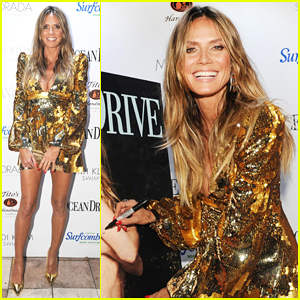 Heidi Klum Sparkles at 'Ocean Drive' Mag Swim Issue Cover Celebration!