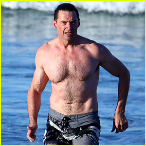 Hugh Jackman Goes for Another Shirtless Run On the Beach!