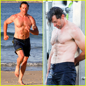 Hugh Jackman Showers Off His Shirtless Body After His Beach Workout!