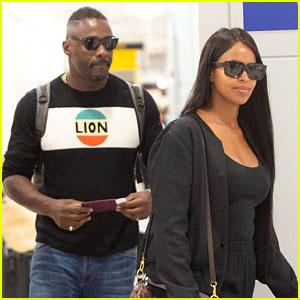 Idris Elba Flies Into New York City with Fiancee Sabrina Dhowre