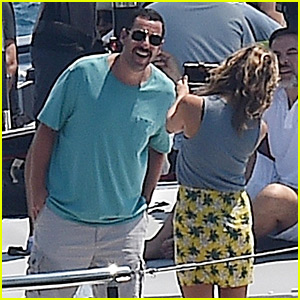 Jennifer Aniston & Adam Sandler Film 'Murder Mystery' on a Yacht