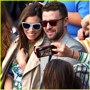 Justin Timberlake & Jessica Biel Watch Serena Williams at Wimbledon!