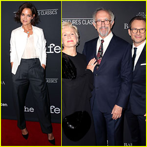 Katie Holmes Supports Christian Slater & Glenn Close at 'The Wife' Premiere