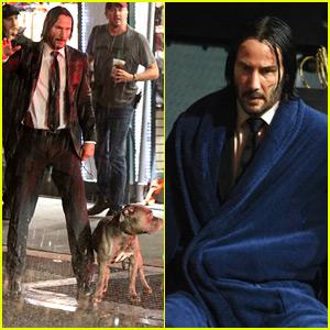 Keanu Reeves Is Soaking Wet While Filming 'John Wick 3'