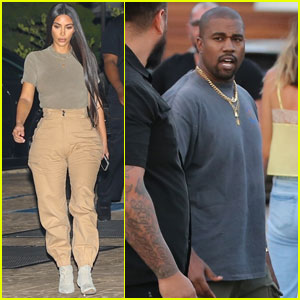 Kim Kardashian & Kanye West Match Their Outfits While Out to Dinner!