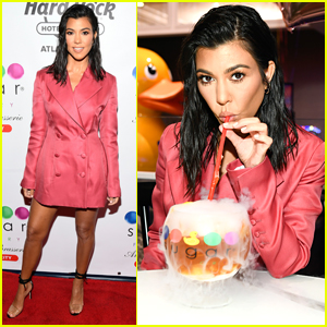 Kourtney Kardashian Goes Pretty in Pink for Sugar Factory Opening in Atlantic City!
