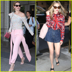 Lily James & Amanda Seyfried Look Chic While Promoting 'Mamma Mia! Here We Go Again' in NYC!