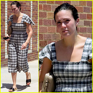 Mandy Moore Keeps It Cool in Plaid Summer Dress for Spa Visit