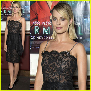 Margot Robbie Wears Black Lace Dress at 'Terminal' UK Screening