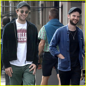 Robert Pattinson Is All Smiles While Hanging Out with Tom Sturridge