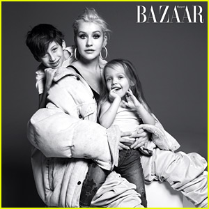 Christina Aguilera Poses with Her Adorable Kids in 'Harper's Bazaar'