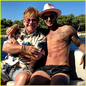 Elton John Hangs Out with Shirtless David Beckham in France