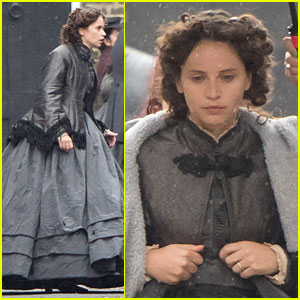 Felicity Jones Films 'The Aeronauts' in the Pouring Rain in London