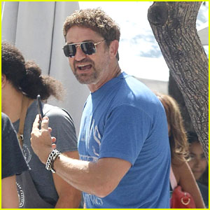 Gerard Butler is All Smiles While Out to Lunch With Friends!