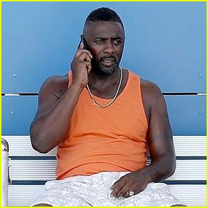Idris Elba Gets to Work on Set in Ibiza