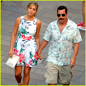Jennifer Aniston & Adam Sandler Film 'Murder Mystery' in Milan!