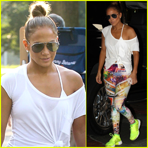 Jennifer Lopez Rocks Colorful Outfit for Workout in Boston!