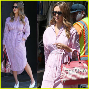 Jessica Alba Carries a Custom Purse While Shooting a Commercial!