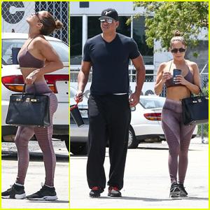 Jennifer Lopez Stretches Before a Workout With Boyfriend Alex Rodriguez!