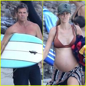 Josh Brolin & Pregnant Wife Kathryn Boyd Enjoy a Day at the Beach With Friends!