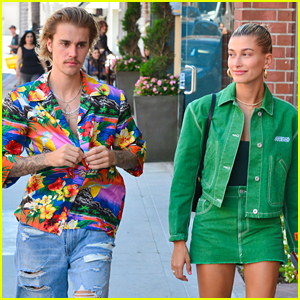 Justin Bieber & Hailey Baldwin Make One Colorful Couple in Beverly Hills!