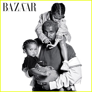 Kanye West Poses with North & Saint for Special 'Harper's Bazaar' Feature!