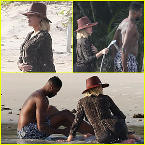 Khloe Kardashian & Tristan Thompson Lounge on the Beach in Mexico
