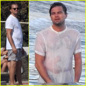 Leonardo DiCaprio Gets His White T-Shirt Soaking Wet in the Ocean