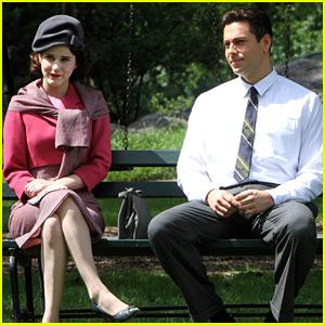 Rachel Brosnahan Films 'Marvelous Mrs. Maisel' with New Co-Star Zachary Levi!