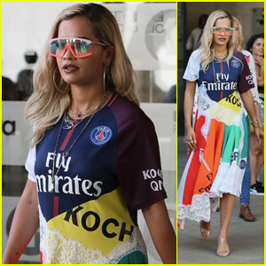 Rita Ora Wears a Soccer-Inspired Rainbow Outfit to BBC Radio One!