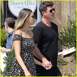Robin Thicke & April Love Geary Hold Hands While Shopping in Malibu
