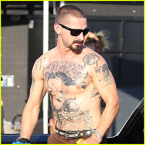 Shia LaBeouf Puts His Shirtless, Tattooed Body on Display on Set