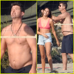 Shirtless Robin Thicke Plays Beach Volleyball with Pregnant Girlfriend April Love Geary