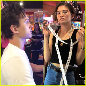 Tom Holland & Zendaya Bond with 'Spider-Man: Far From Home' Cast at Arcade