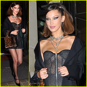 Bella Hadid Rocks a Sheer Lace Mini-Dress in Paris