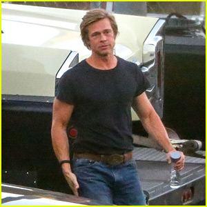 Brad Pitt Looks Buff in His Black Tee On Set with Leo DiCaprio!