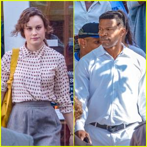 Brie Larson & Jamie Foxx Film 'Just Mercy' in Atlanta