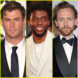 Chris Hemsworth, Chadwick Boseman, & Tom Hiddleston Represent Marvel at 'GQ' Awards!
