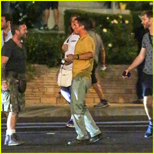 Christian Bale Films a Night Scene for 'Ford v. Ferrari'!