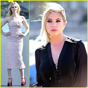 Ashley Benson Sits Front Row as Elle Fanning Walks In L'Oreal Paris Fashion Show