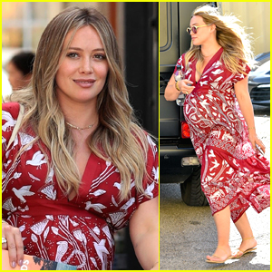 Hilary Duff Shows Off Her Major Baby Bump at the Salon!