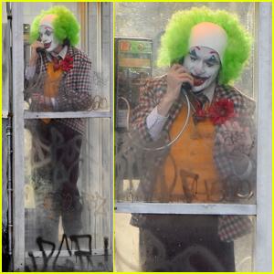 Joaquin Phoenix Dresses in Full Joker Clown Costume for Phone Booth Scene!