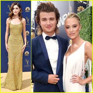Stranger Things' Natalia Dyer Shines in Golden Dress at Emmy Awards 2018