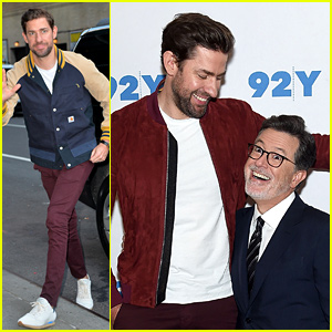 John Krasinski Gets Interviewed by Stephen Colbert Twice in One Day!