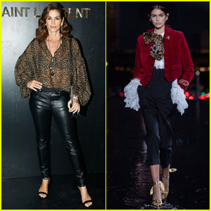 Cindy Crawford Supports Daughter Kaia Gerber at 'Saint Laurent' Show