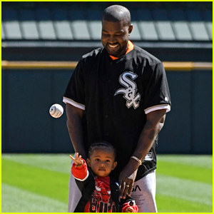 Kanye West & Son Saint Throw Out First Pitch at White Sox Game!