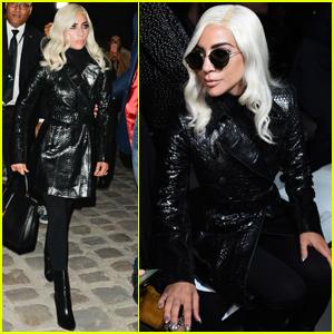Lady Gaga Supports Hedi Slimane at Debut 'Celine' Show During Paris Fashion Week